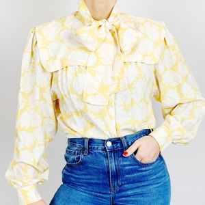 Vintage Silk Yellow Floral Bow Tie Blouse B218
